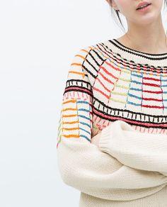 COLOURED EMBROIDERY SWEATER-Sweatshirts-WOMAN | ZARA United States