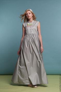 Long cotton dress / Купить Платье в пол серое - серый, однотонный, без рукавов, платье в пол, юбка макси