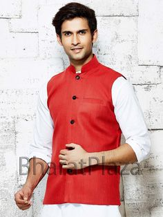 Magnificent red color linen nehru jacket. Item Code: NJI5001R