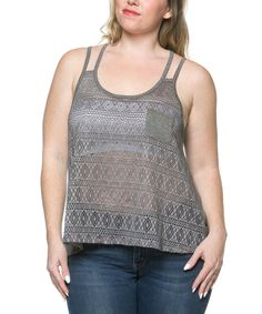 Look what I found on #zulily! Heather Gray Sheer Lace Racerback Tank - Plus by Serene Blue #zulilyfinds