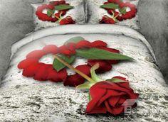New Arrival Beautiful Rose in Heart Petals Print 4 Piece Bedding Sets  @bedding inn