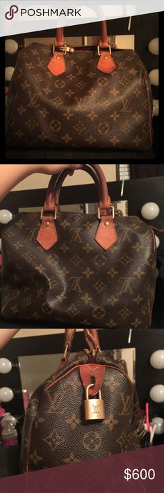 Louis Vuitton speedy 25 Authentic. Louis Vuitton speedy Inside is dirty with pen marks.  The handles are aging as well I am looking for a neverfull or speedy azur or damier Louis Vuitton Bags Shoulder Bags
