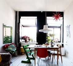 #Diningroom #Furniture Differents colourfull chairs around a table