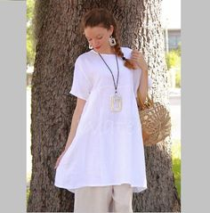 BRYN WALKER Light Linen MARA TUNIC Long Babydoll Pocket Top XS S M L XL WHITE in Clothing, Shoes & Accessories, Women's Clothing, Tops & Blouses   eBay