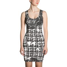 Grey Houndstooth Print - Fitted Dress - DogzPrinted