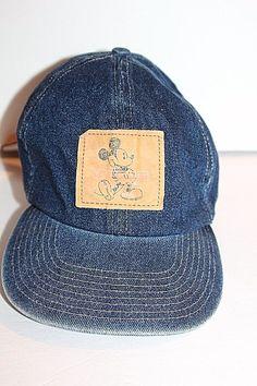 Vintage Disney Mickey Mouse Blue Denim Baseball Hat Cap Adjustable Back Rare #Disney
