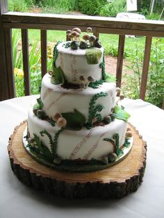 woodland cake decorating ideas | Look closely to see muddy tire tracks, mud puddles, and little ...