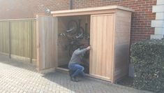 The Bike Shed Company Easy, safe and effortless access to another Bespoke bike shed. The Bike Shed Company have it all! Bicycle Storage Garage, Outdoor Bike Storage, Backyard Storage Sheds, Diy Storage Shed, Outside Storage, Backyard Sheds, Outdoor Sheds, Shed Storage Ideas Bikes, Small Outdoor Shed