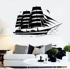 Vinyl Wall Decal Yacht Marine Ship Nautical Wave Stickers (ig3933)
