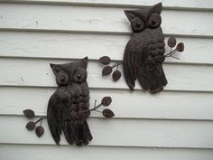 Vintage Pair of Metal Owl Wall Hangings TWO by ssmith7157 on Etsy, $18.99