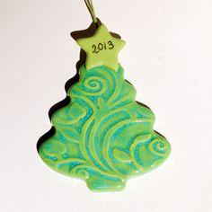 Christmas Ornament 2013 Ceramic Tree Tree Green by ElkeHutchens, $12.00