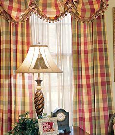 Moire Plaid Rod Pocket Curtains