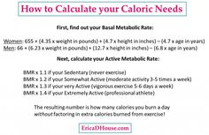 How to calculate caloric needs, basal metabolic rate, active metabolic rate, weight loss, fitness Bmr Calculator, Calorie Tracker, Basal Metabolic Rate, D House, Calorie Intake, Need To Lose Weight, Weight Loss Goals, Get In Shape