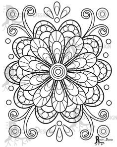 INSTANT DOWNLOAD Coloring Page fun mandala flower by RootsDesign