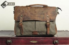 Superior Genuine Leather canvas cross body bag /  door AWESOMEBAG, $39.99