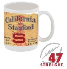 Best Cyber Monday Gifts 2013! Best Cyber Monday Deals 2013! Cyber Monday Deals on coffee mugs. Football Ticket Mugs™ made from 2,400 historic football tickets! Set of 6 coffee mugs only $59.99! Printed in the U.S.A. #coffee #mugs #CyberMonday #Deals #CyberMondayDeals #gifts #uniquegifts #CyberMondayGifts #giftideas #CyberMonday2013 #Cal #Stanford #Bears #Cardinal #47straight