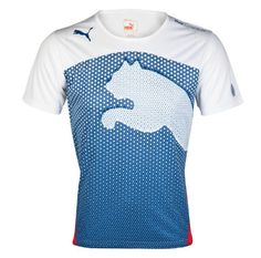 This shirt has a nice design that can attract customer yet promotes the brand very well. The puma shape on the shirt stands out on the blue layout which makes it aesthetically pleasing to the eye thus attracting customers. The large size of the puma also helps to promote the brand of the company therefore allowing others to recognize the brand easily.