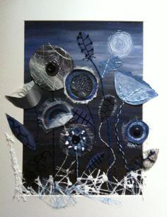 By the light of the silvery moon Mixed media by Christine Pettet art www.facebook.com/christinepettetart Flower Quilts, Fabric Flowers, Fabric Art, Fabric Crafts, Inspiration Art, Art Plastique, Flower Crafts, Textile Art, Fiber Art