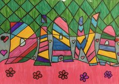 Our first names like Romero Britto - Giuditta Luddy Name Design Art, Name Art Projects, Ecole Art, Folder Design, Art Plastique, Art Education, Art Pictures, Giclee Print, Art Drawings