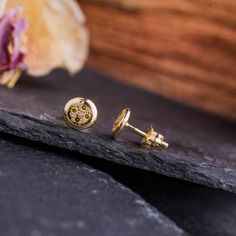 Round Studs in Yellow Gold set with Natural Cognac Color Diamonds, Yellow Gold Earrings,Diamonds Studs, Handmade Jewelry Handmade Jewelry, Unique Jewelry, Handmade Gifts, Gold Set, Colored Diamonds, Gold Earrings, Studs, Yellow, Natural