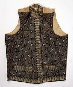 Waistcoat  Date: 1786–90 Culture: British Medium: silk, wool, cotton Dimensions: Length at CB: 25 in. (63.5 cm) Credit Line: Purchase, Gifts in memory of Paul Ettesvold, 1988 Accession Number: 1988.261.1