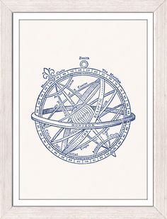 Nautical print poster - Vintage compass n03 in blue - sea life tools print- Vintage illustration sea life