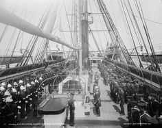 Attention! Sunday morning inspection time on the USS Richmond, c1897. #Navy #crew #ships  #inspections