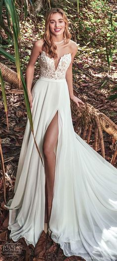 calla blanche fall 2020 bridal off shoulder straps plunging sweetheart neckline embellished bodice a line wedding dress clean slit skirt chapel train lv -- First Look: Calla Blanche Fall 2020 Wedding Dresses Slit Wedding Dress, Dream Wedding Dresses, Bridal Dresses, Wedding Gowns, Girls Dresses, Flower Girl Dresses, Vestidos Sexy, Headpiece Wedding, Boho Bride