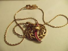 GIVENCHY SIGNED FILIGREE WREATH PUCE RIBBON PENDANT CHAIN  1970'S #Givenchy #PendantChain