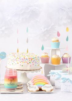 This is the sweetest storm! A rainbow and clouds themed baby shower is perfect for a boy, girl, or gender neutral shower. Shop the collection of sweet baby shower favors, decorations and supplies. Or could even be a cute baby girls birthday party theme! Cadeau Baby Shower, Idee Baby Shower, Baby Shower Favors, Baby Shower Parties, Baby Boy Shower, Baby Shower Gifts, Cloud Baby Shower Theme, Baby Sprinkle Favors, Baby Sprinkle Decorations