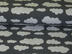 Jersey  with Clouds in white on grey de Retro-Stoff-Cafe por DaWanda.com