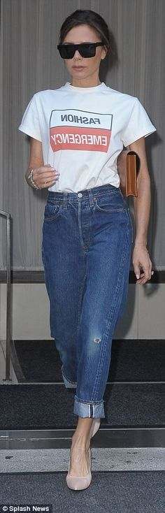 The 43-year-old former Spice Girl, who is also launching her cosmetics collaboration with Estee Lauder, oozed Seventies cool in the white T-shirt which she tucked into a pair of 'Mom' jeans