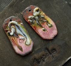 crackle pink swirl charm copper enamel with glass lampwork jewelry supplies 4ophelia