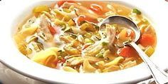 Skinny Homemade Chicken soup.  4 pts for 2 cups!  I will probably make with Tofu noodles and cut the pts even more.