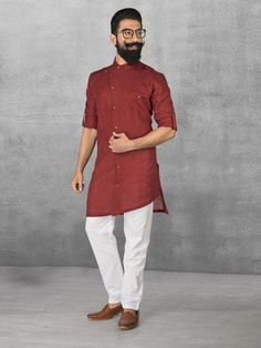 ef9302b0fe Maroon Linen Simple Kurta Suit mens kurta suits, mens kurta designs, mens  kurta pyjama