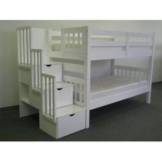 bunk beds. Find this, and paint part it Avocado green, and paint black chalk board paint on drawers and on stairs side