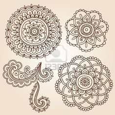 These Mehndi Flower Doodles would like great embroidered.