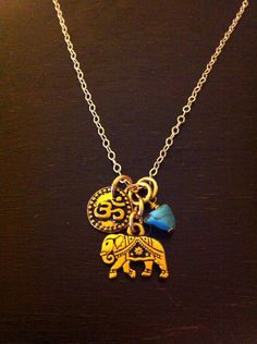 Elephant Necklace Gold OM OHM India  Spiritual by RedGypsyJewelry, $34.00