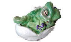 """Keramik Drache ,, Petri """" Garten Figur, Gartenwichtel, Skulptur, Ton Drache, grüner Drache"""