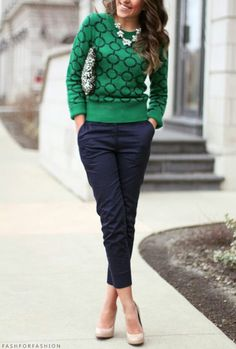 Navy pants and green print sweater. Casual everyday or work attire.