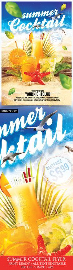 Summer Cocktail Flyer Template PSD. Download here: http://graphicriver.net/item/summer-cocktail/16436315?ref=ksioks