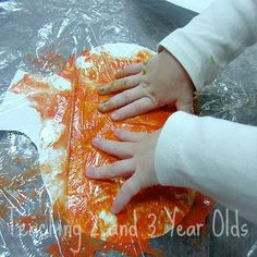 Pumpkin Art with Plastic Wrap :: pumpkin craft for toddlers