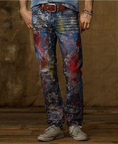 Denim & Supply Ralph Lauren Jeans, Slim Fit Carbon Paint Splatter Jeans…