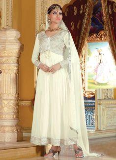 Opulent Off White Ankle Length Anarkali Suit