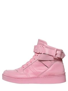 MOSCHINO 35Mm Leather High Top Sneakers, Pink. #moschino #shoes #sneakers