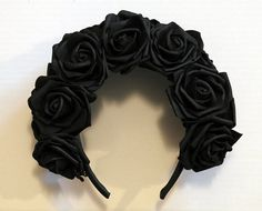 Black Gothic Oversize Flowercrown Roses two rows by suupremacy