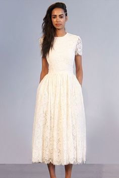 Stunning 52 Casual and Elegant Midi Dress Outfit Ideas Bohemian Wedding Dresses, Modest Wedding Dresses, Bridesmaid Dresses, Tea Length Wedding Dress, Tea Length Dresses, Midi Dress Outfit, Dress Outfits, Lace Dress, Houghton Bride