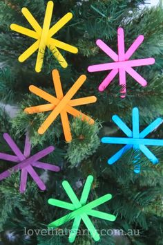 christmas craft kids handmade decorations ornaments neon popsicle stick paddle pop stick