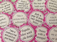 Bachelorette Party Game Bracelets. Maybe not these ideas, but a super cute idea