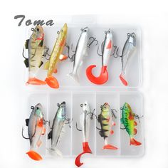 TOMA Soft Lure Kit set 18g 14g 13g 9g 8g Wobblers Artificial Bait Silicone Fishing Lures Sea Bass Carp Fishing Lead Fish Jig #Affiliate